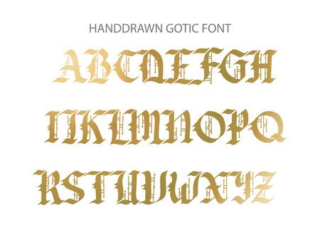 Blackletter gothic script hand-drawn font. Stockfoto