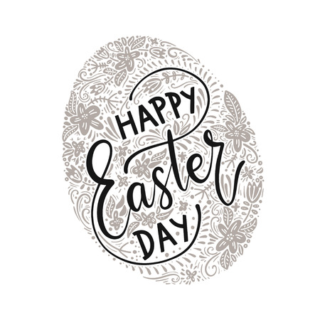 happy easter day lettering in painted black and white egg. Vector illustration. Illustration