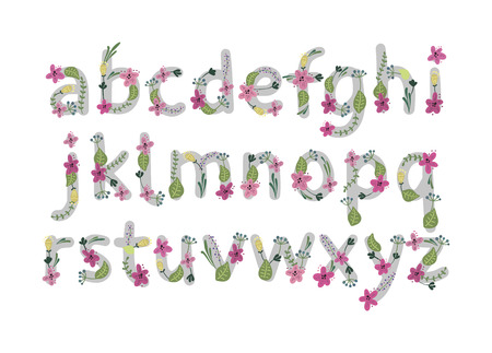 Vector colorful flower font. Vector illustration. Stock Photo
