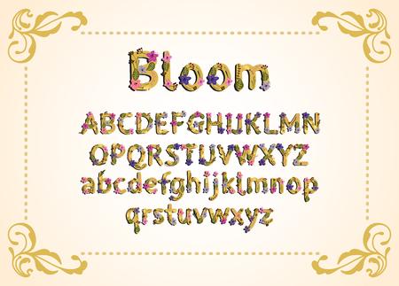 Vector colorful flower font. Vector illustration. Illustration