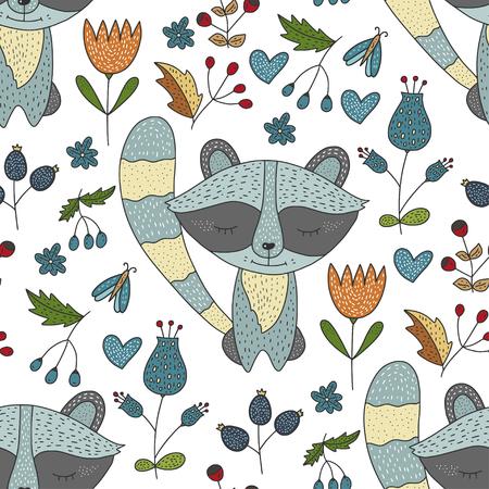 Patrón de bosque de vector transparente con lindas ilustraciones en color. Ilustración de vector