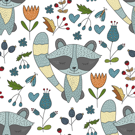 Seamless vector forest pattern with cute color illustrations.
