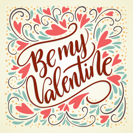 Valentines Day Lettering. Handwritten Romantic Greeting Card.
