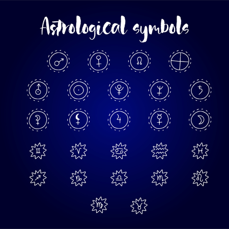 Símbolos de doodle de astrología. Conjunto de elementos de diseño gráfico astrológico. Ilustración de vector