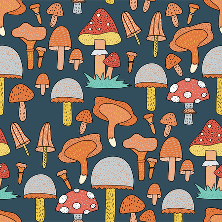 Seamless forest pattern with cute color illustrations.