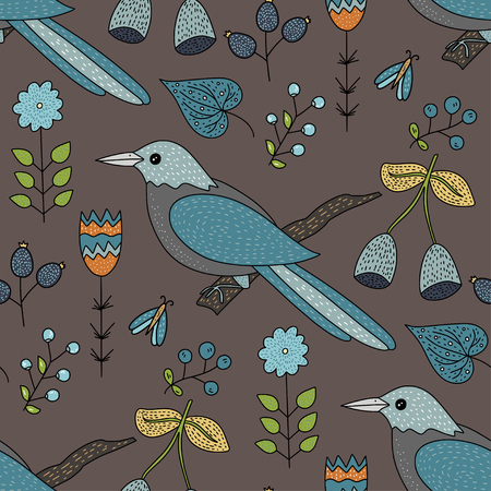 Seamless vector forest pattern with cute color illustrations - spakk birds