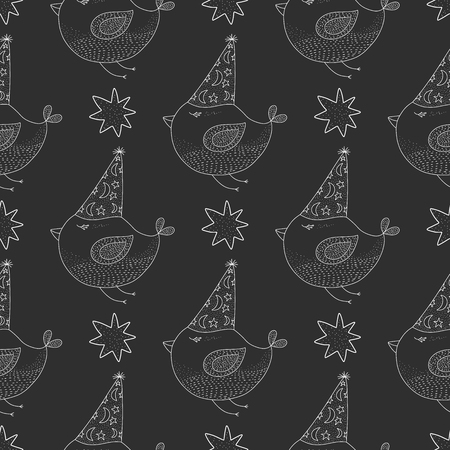 Birthday vector seamless pattern with cheerful cute birds and stars . Outline illustrations on a dark background.