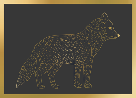 Outline vector golden wolf icon on a black background. Detailed animal illustration.