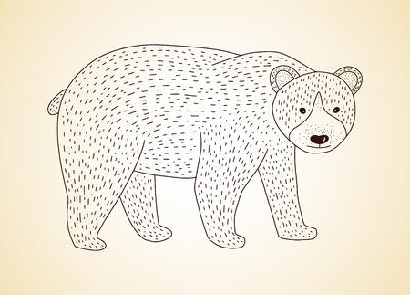 Outline vector golden bear icon on a black background. Ilustracja