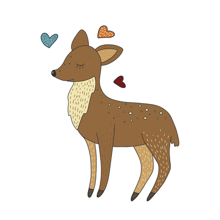 Cute little baby deer. Vector cartoon hand drawn card.