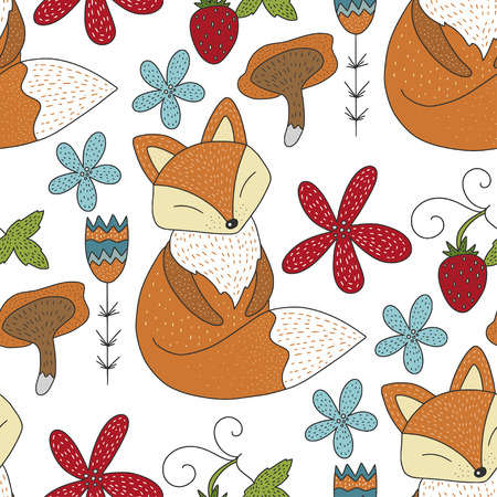 Seamless vector forest pattern with cute color illustrations - sleeping fox, flowers and berries. Ilustração