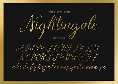 Nightingale. Handdrawn calligraphic vector font. Imagens - 106609055