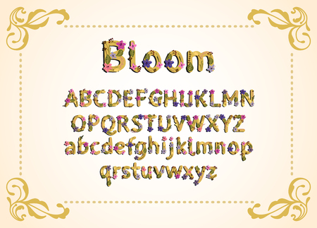 Vector colorful flower font. Vector illustration. Grotesque style. Floral alphabet.