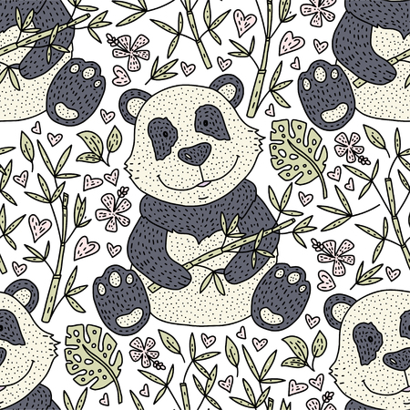 Panda bear doodle seamless pattern. Hand drawn detailed cartoon card. Vector nature illustration.