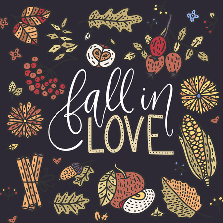 Cozy fall vector illustration. Autumn vector lettering card with handdrawn quotes and cozy doodle fall clip arts. Fall in love detailed card on a black background.