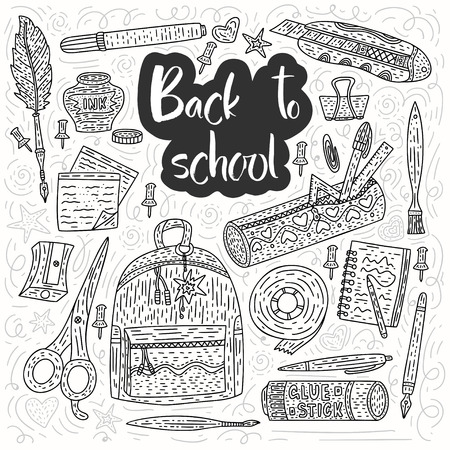 Back to school vector card. Drawing supplies for school and office with pen, pencil, ink, paintbrush, glue, school bag and others. Vektorové ilustrace