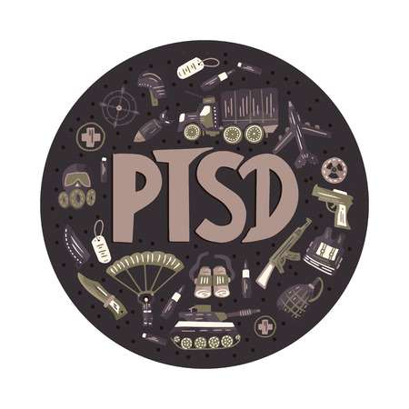PTSD. Post traumatic stress disorder round vector illustration with military signs - parachute, tank, weapon, airplane, bomb, car, gas mask, automatic. Mental health consept. Ilustração