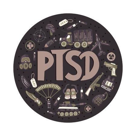 TSPT. Trouble de stress post-traumatique rond illustration vectorielle avec signes militaires - parachute, char, arme, avion, bombe, voiture, masque à gaz, automatique. Consentement à la santé mentale. Vecteurs
