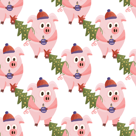 New Year 2019 seamless pattern with christmas cartoon flat pink pigs. Color hand drawn happy animals. Vector illustration.