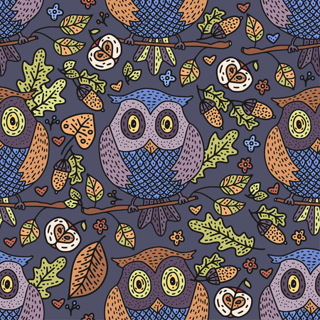 Cozy fall hand drawn vector seamless pattern. Autumn forest doodle detailed illustration with cartoon owl.