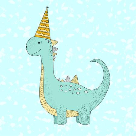 Birthday vector illustration with cartoon cute dino. Birthday greeting card.