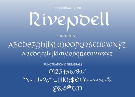 Police dessinée à la main gothique gothique. Lettres décoratives de style magique vintage. Script vectoriel de Fondcombe.