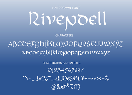Blackletter gothic uncial hand-drawn font. Decorative vintage magic styled letters. Rivendell vector script.