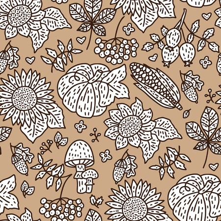 Cozy fall hand drawn vector seamless pattern. Autumn doodle detailed illustration with season harvest.