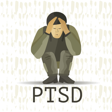 PTSD. Post traumatic stress disorder vector illustration. Mental health consept with soldier in stress.