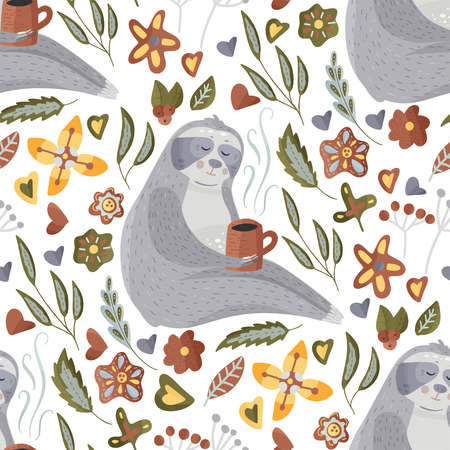 Seamless vector pattern with cute cartoon sloth drinking coffee on a white background. Vector animal illustrations in a flat style with floral elements.