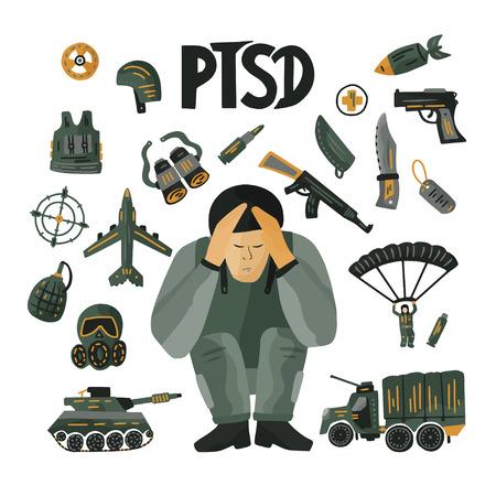 PTSD. Psychisches Gesundheitskonzept mit einem Soldaten im Stress.