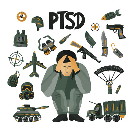 PTSD. Mental health concept with a soldier in stress.