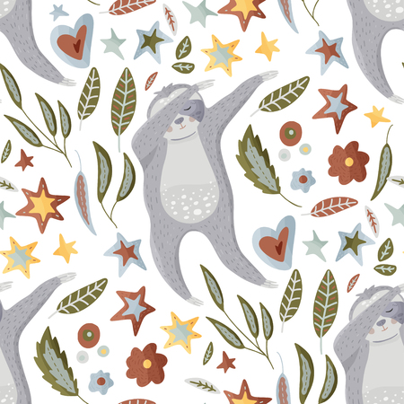 Seamless vector pattern with cute hand drawn sloth dancing dab dance among flowers, stars and leaves on a white background. Vector cool animal illustrations in a flat style with floral elements. Illustration