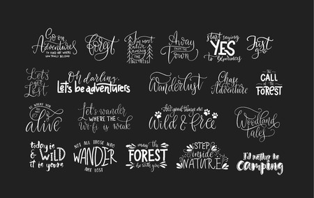 Set of adventure, outdoors and travel quotes. Nature and forest calligraphy collection.