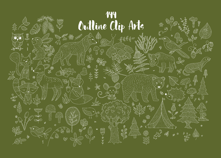 Big set of hand drawn utline forest illustraitions with wild animals and nature elements. Illustration