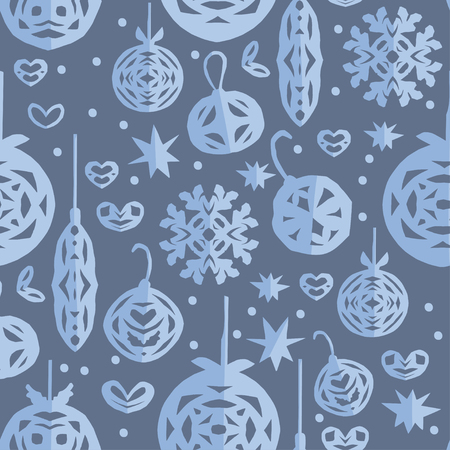 Christmas seamless pattern. Paper craft design, cut out by scissors from paper. Vector craft illustration with snowflakes and holiday decorations.