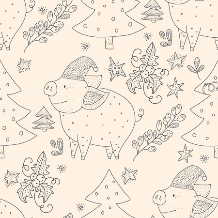 Doodle Christmas pig. Christmas vector seamless pattern with detailed holiday illustrations.Cute outline illustrations with cartoon pigs and Christmas trees.