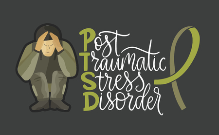 PTSD. Post traumatic stress disorder vector illustration. Mental health consept with soldier in stress and hand drawn lettering quote. Psychological trauma.