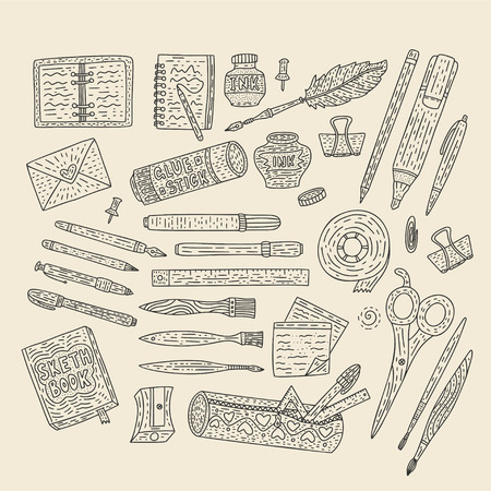 Drawing accessories outline vector set. Doodle color drawing supplies for school and office with pen, pencil, ink, paintbrush, notebook, and others.