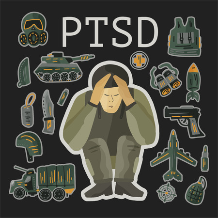 PTSD. Post traumatic stress disorder vector illustration. Mental health consept with soldier in stress. PTSD card with vector military flat icons - parachute, tank, weapon, airplane, bomb.