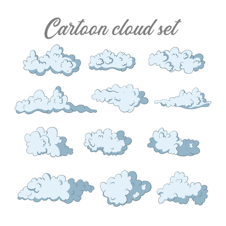 Cloud vector set. Sky icon collection. Cartoon signs. Illustration