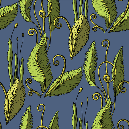 Prehistoric vector plants. Differenr extinct greenery, Cartoon botanical seamless patterns.