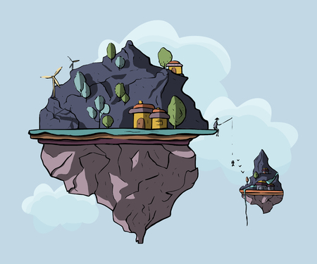 Floating island, 3d fantasy earth, green landscape. Cartoon magic eco illustration with hills and houses.
