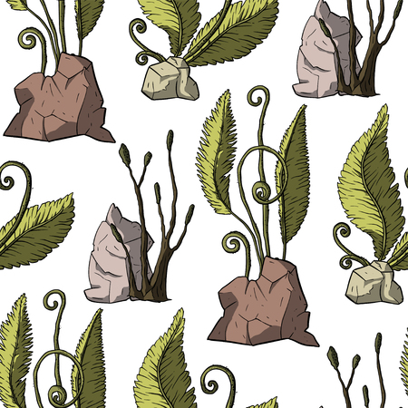 Prehistoric vector plants. Differenr extinct greenery, Cartoon botanical seamless pattern with stones.
