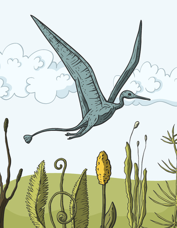 Pteranodon Dinosaur in its habitat. Jurassic and Cretaceous animal. Prehistoric vector dino.