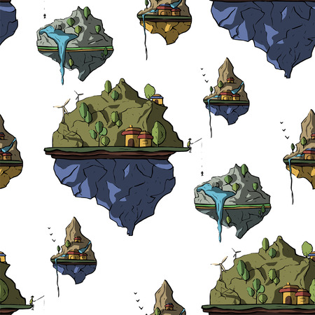 Seamless pattern with floating island, 3d fantasy earth, green landscape. Cartoon magic eco illustration. Flying land in the sky.