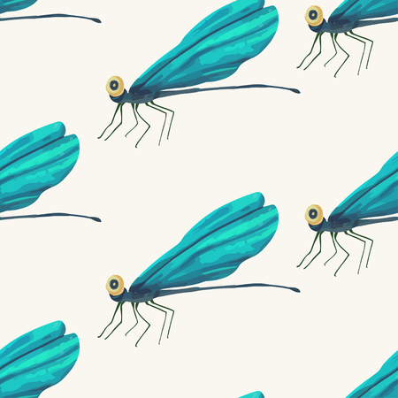 Seamless vector pattern vith cute 3d insect. Illustration with blue garden  cartoon dragonfly beetles on a white background.