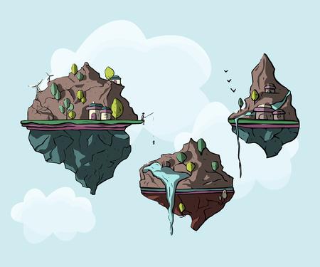 Set of floating island, 3d fantasy earth, green landscape. Cartoon magic eco illustration.