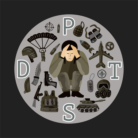 TSPT. Illustration vectorielle de trouble de stress post-traumatique. Conscient de la santé mentale avec un soldat stressé. Carte PTSD avec icônes vectorielles militaires plates - parachute, char, arme, avion, couteau, bombe.