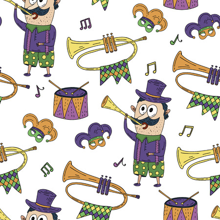 Seamless pattern with masquerade symbols. Mardi gras party vector illustration. Carnival card with doodle illustrations. Man with musical instruments.